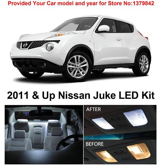 Free Shipping 6Pcs/Lot car-styling Xenon White Premium Package Kit LED Interior Lights For Nissan Juke 2011 & Up