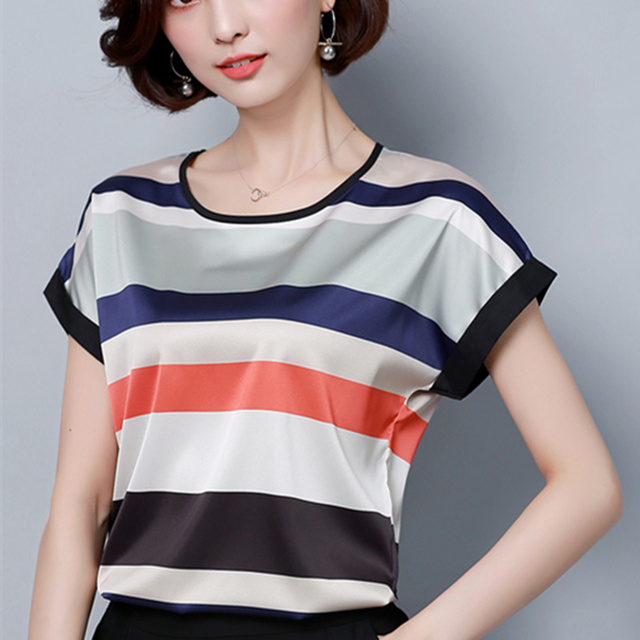 67218c18a07 Womens Tops and Blouses Chiffon Blouse Summer Ladies Striped Shirts Short  Sleeve Casual Clothing 2018 Plus Size Blusa Feminina