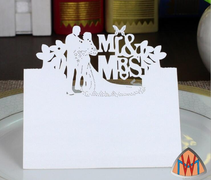 100pcs Laser Cut Hollow Mr&Mrs Bride and Groom Paper Table Card Number Name Card For Party Wedding Place Card Decorate