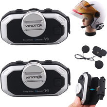 2 pcs Vimoto V8 Motorcycle Bluetooth Stereo Headset For Rider and Pillion Suit for Integral Close