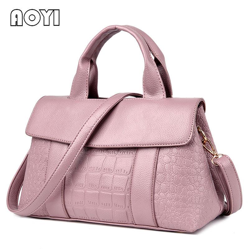 aoyi mujeres simples bolsa de gran capacidad de bolso de las seoras de cuero de cocodrilo patrn de hombro bolsa de mensajero d