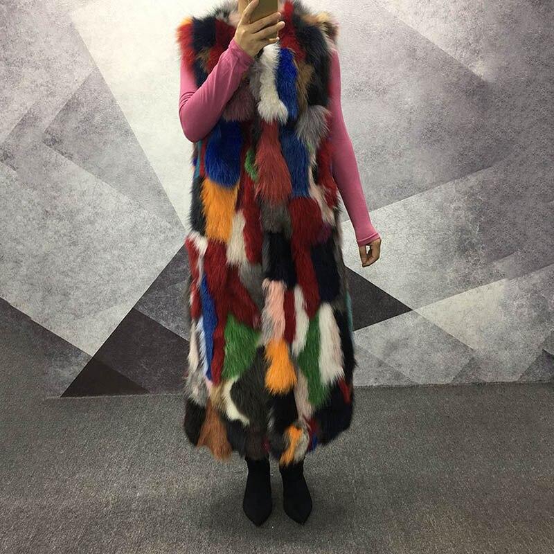 Gilet Fourrure Long Renard Automne De Hiver Color 100 Extra Outwear Picture Véritable Femme Coloré 2018 Femmes Épais Naturel Chaud RqtYwxf