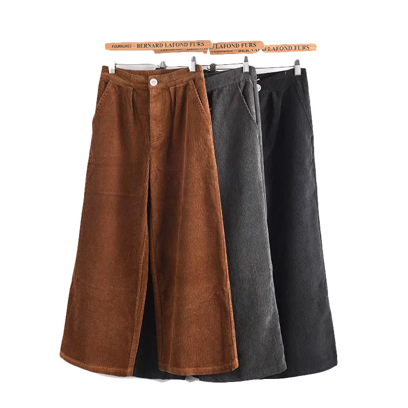Women's   Pants   New High Waist Loose   Wide     Leg     Pants   Women Autumn Winter Corduroy Cropped Trousers Casual Ankle-Length Flare   Pants