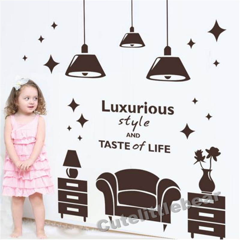 Customized Sofa Bedside Cabinet Droplight Wall Sticker Quotes Vinyl DIY Wall Decals for Shop Store Decoration