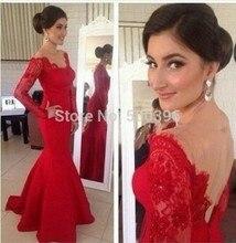 Sexy Open Back Abendkleid 2017 Langarm Rot Abendkleid Frauen Formale Kleider Satin und Spitze Kleider