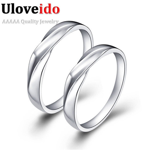 Rings for Men and Women Anniversary Gift Idea Love Promise Ring Bijuterias  for Lovers Vintage Charm Jewelry Circle Uloveido J008 829010bb1e6e