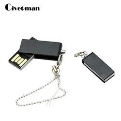 Ручка диск Вращающийся Водонепроницаемый USB Flash Drive 4 ГБ 8 ГБ 16 ГБ 32 ГБ 64 ГБ флешки поворотный металлический mini-USB Stick диск с цепочкой
