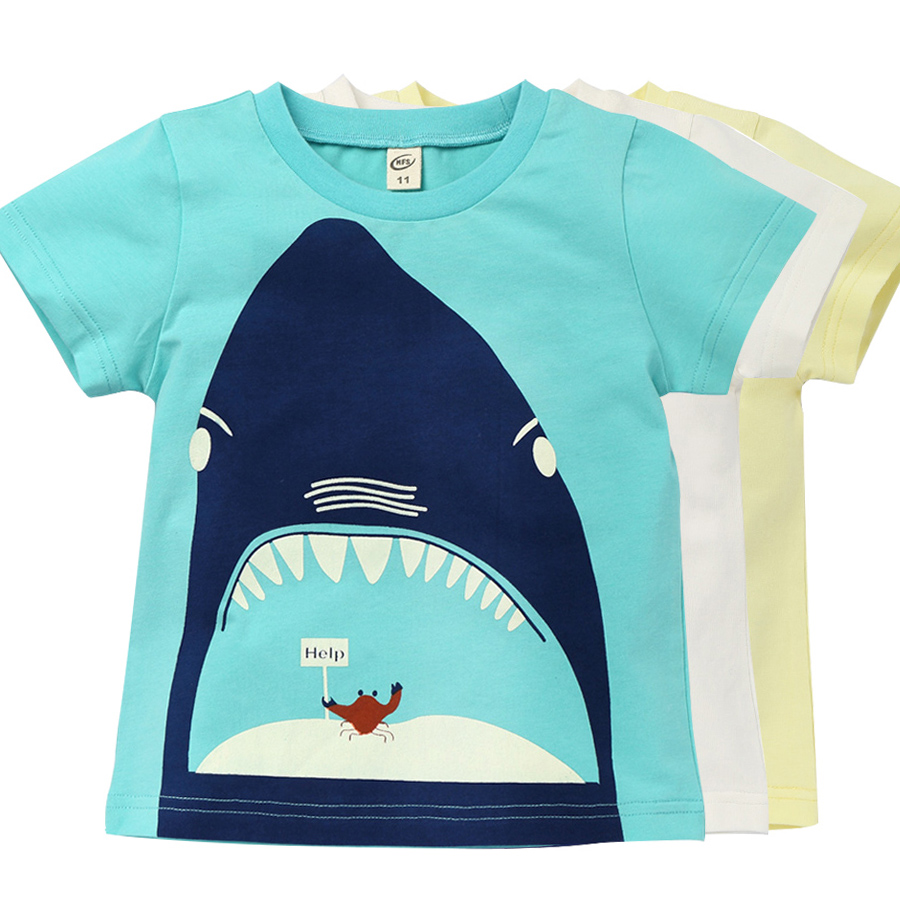 Toddler Boys Shark Pattern T shirt Children Summer