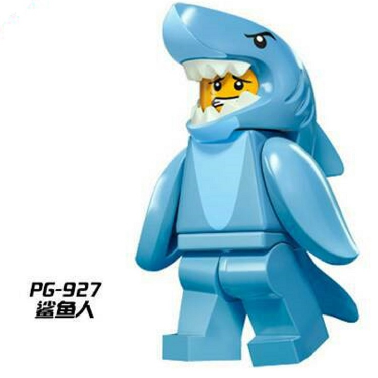 Single Sale Super Heroes  Shark Suit Guy Hot Dog Man Building Blocks Children Birthday Gift Toys Action  PG927 single sale pirate suit batman bruce wayne classic tv batcave super heroes minifigures model building blocks kids toys gifts