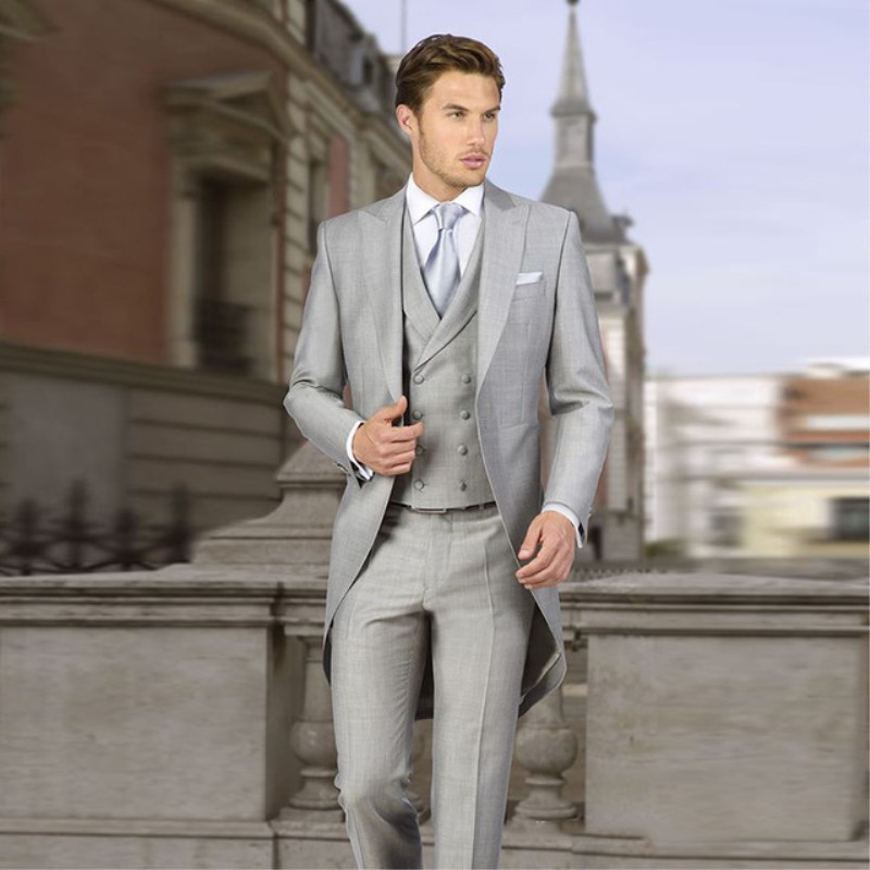 Italian Gray Tailcoat Wedding Suits for Men Retro Groom Tuxedo Slim Fit 3 pieces Double Breasted Jacket + Pants + Party Vest