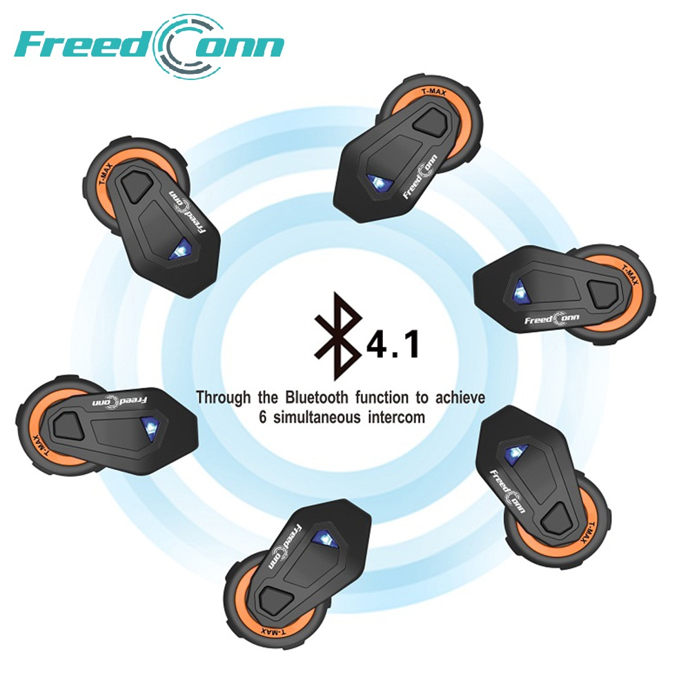 2018 The latest T-MAX motorcycle helmet bluetooth headset intercom 6 riders group intercom BT Interphone FM Radio Bluetooth 4.1 bluetooth helmet intercom t rex 8 riders waterproof full duplex motorcycle group talk system 1500m bt interphone headset with fm
