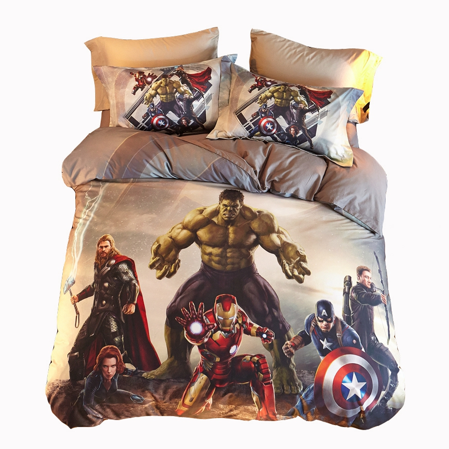 Avengers bedding set twin - Fantastic Avengers Bedding Set Cotton Anime Bedding Bed Sheet Duvet Cover Pillowcase Good Zipper Hulk
