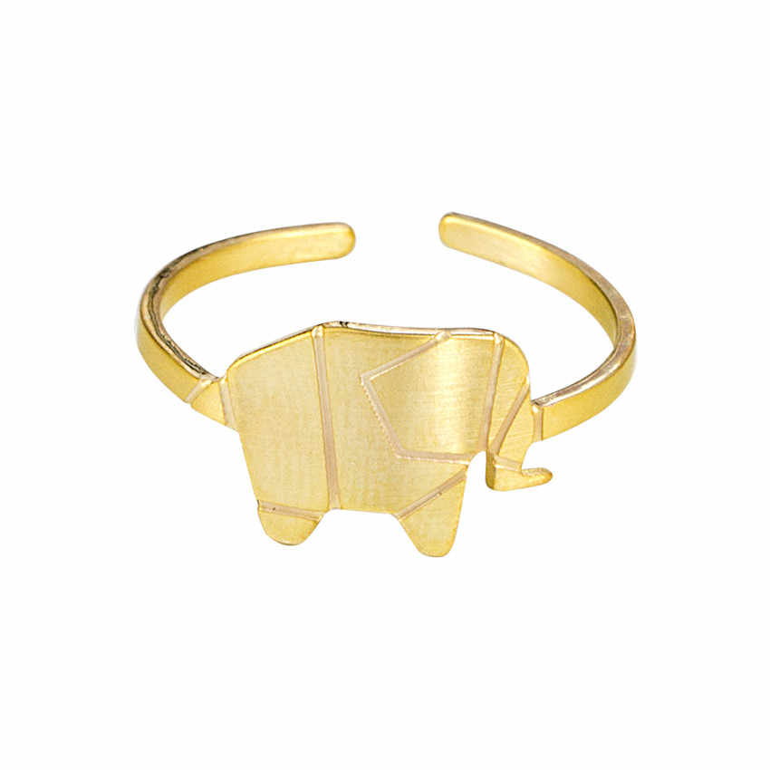 Stainless Steel Gold Color Origami Elephant Rings For Women Men Jewelry Minimalist Resizable Cute Animal Midi Rings Bijoux Femme