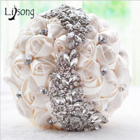 Luxury Crystal Dubai Wedding Bouquet With Artificial Rose 3D Flower Bridesmaid Bridal Bouquets Bouquet De Mariage 2017
