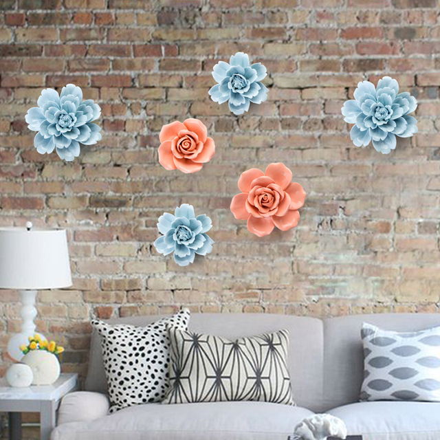 Three Dimensional Ceramic Flowers Wall Decoration Bedroom Hangings Living Room European Style