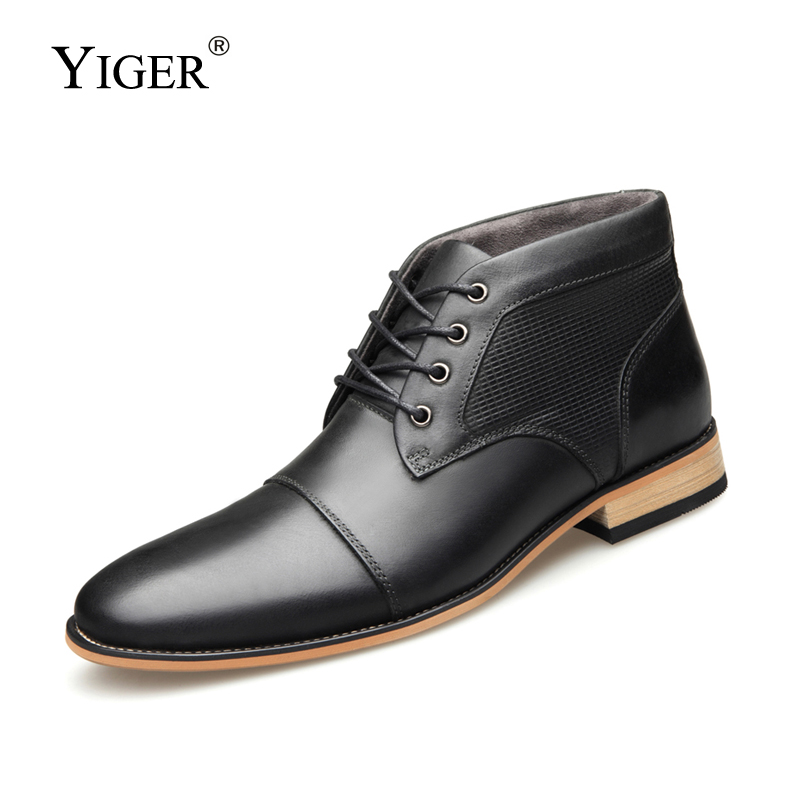 YIGER New Men Boots Martins Boots Genuine Leather Winter Ankle Boots Large Size 39-47 Male Lace-up Leisure Chelsea Boots  0206