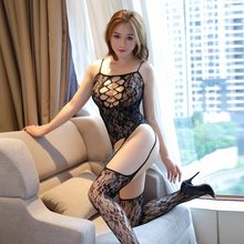 Sexy Bodystocking Lingerie Fishnet Sheer Mesh Bodysuit Bodycon Women Sexy Hot Erotic Open Crotch Stocking On the Body(China)