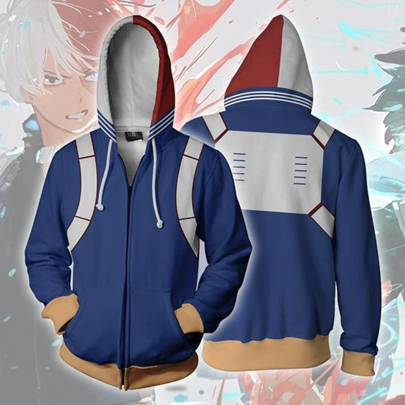 Anime My Hero Academia School Uniform Academy Symbol Sweatshirts Hoodies Fashion Cosplay Zipper hooded  Jacket clothing
