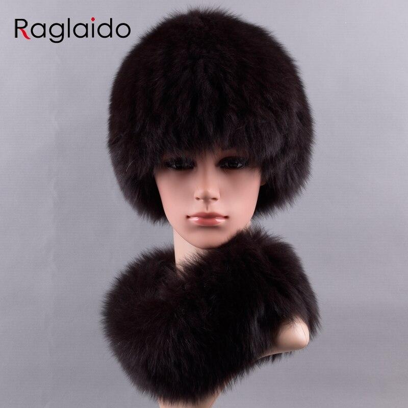 Фото Raglaido Real Fox Fur Hats and scarf ring collar set Furry Winter hats for women  Knitted snow beanies Genuine fur capLQ11227