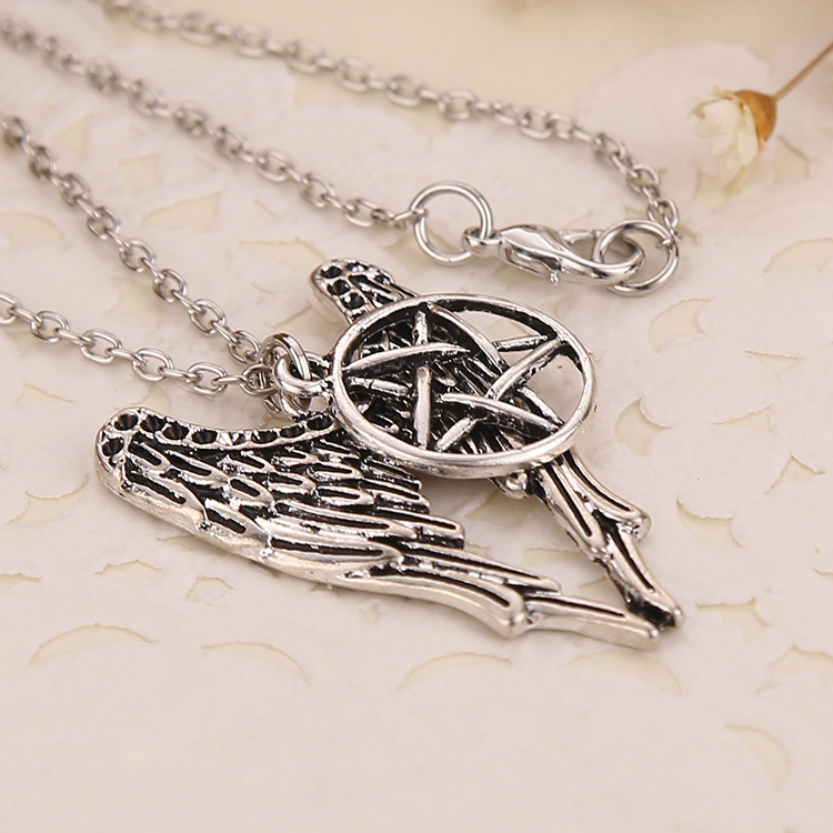 Supernatural Necklaces Pentagram Pentacle Castiel Angel Wings Vintage Antique Silver Pendant Jewelry For Men Women Holiday Gifts in Pendant Necklaces from Jewelry Accessories