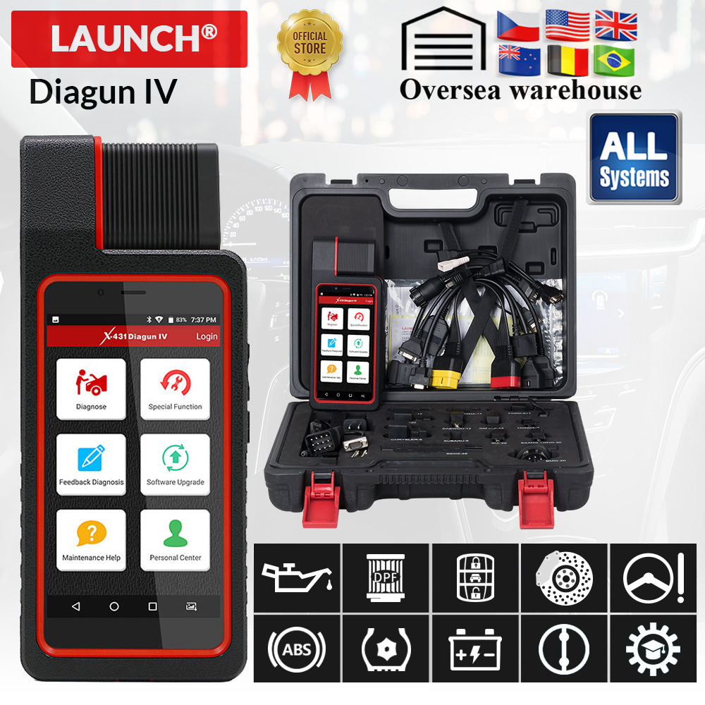 LAUNCH X431 Diagun IV Bluetooth Wifi OBD2 Automotive Full System Diagnostic Tool Multi Language 2 Year