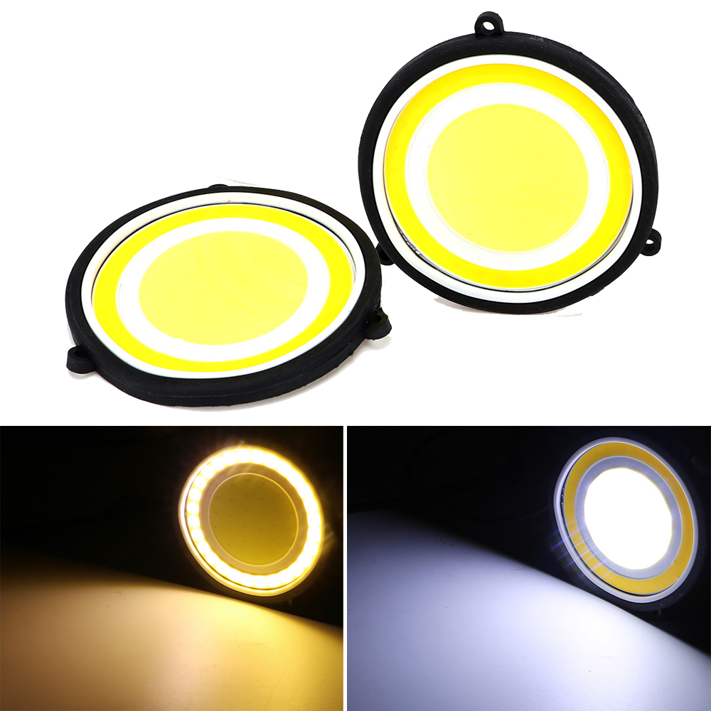 1 Pair COB LED Car DRL Turn Signal Light Car Styling Universal Round Shape Fog Lamp Auto Daytime Running Light Turn Indicators 1 pair waterproof cob turn signal lamps reversing light led car drl flexible fog lamp car styling daytime running light
