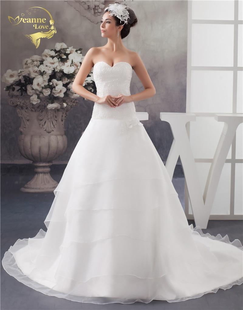 Jeanne Love 2019 Novo oblikovano poročno obleko Dolgi vlak Robe De Mariage Organza Poročne obleke A Line Vestido De Novia JLOV11040