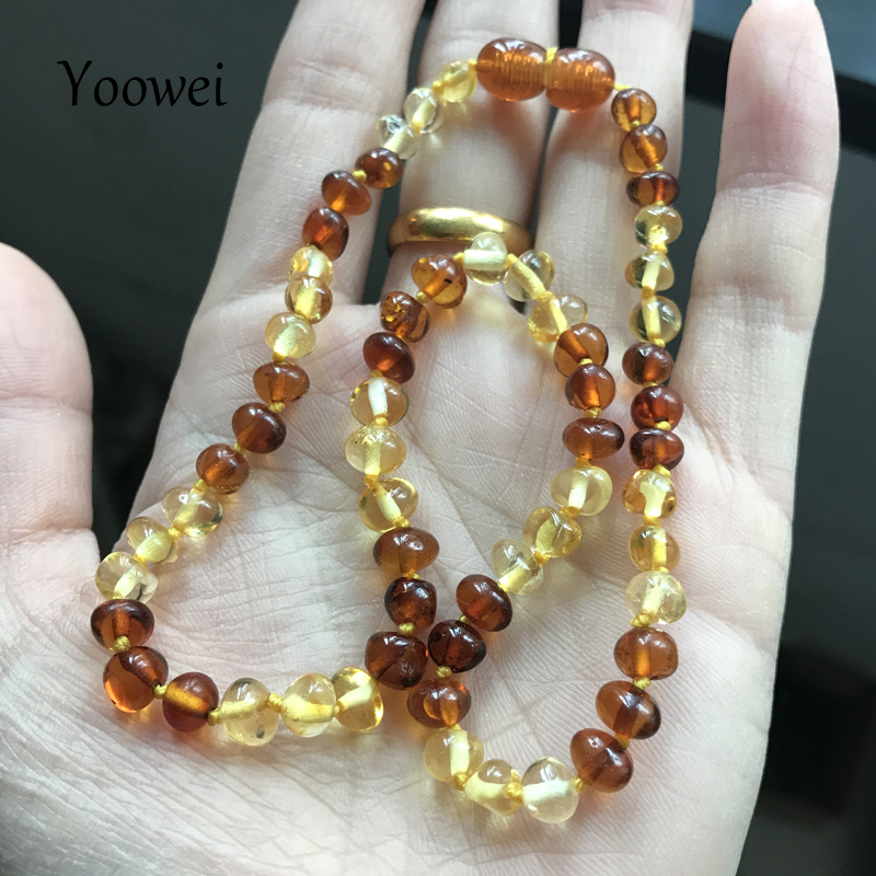 Yoowei Baby Amber Teething Necklace for Gift Genuine Bead Women Baroque Natural Baltic A ...