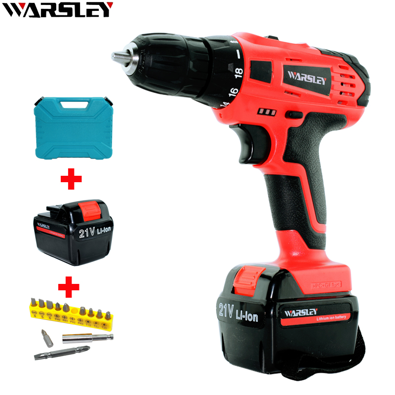 цены 21V Electric Screwdriver Electronic Drill 2 Batteries Automatic Screwdriver Power Tools Cordless Rechargeable Electric Drive