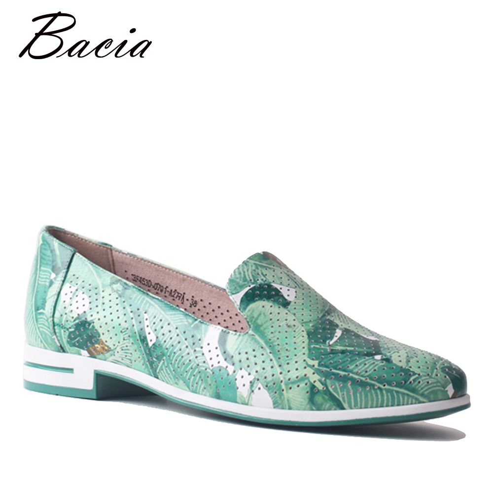 Bacia Green Colorful Leather Loafers Women Spring Summer Green Shoes Girl Casual Shoes Slip On Flats Creepers Moccasins SA089