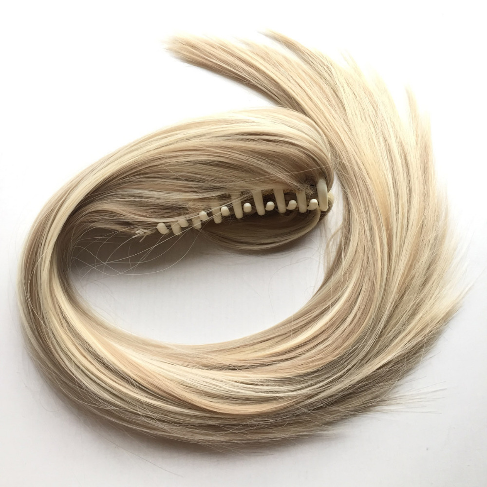 Delice 22inch Women's Straight Blonde Hästsvans High Temperature - Syntetiskt hår - Foto 3