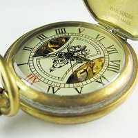 2010 Heroes Pattern 100 Brass Cover Mechanical Pocket Watch