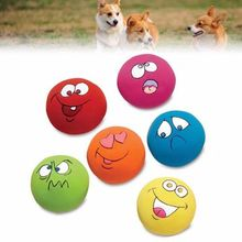 6pcs/Set Pet Dog Natural Latex Squeaky Toy Puppy Play Ball With Face Fetch Bright Chew Toys