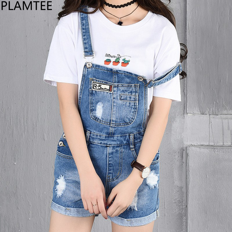 PLAMTEE Patches Big Pocket Short Overalls Women Cuffs Hole Denim Jumpsuit Ripped Jeans P ...