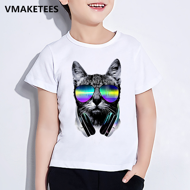 Night Lights Kids Summer Short Sleeve Girls & Boys T Shirt Children Cool Dj Cat/pug/panda Print T-shirt Animal Funny Baby Clothes,hkp129 At All Costs