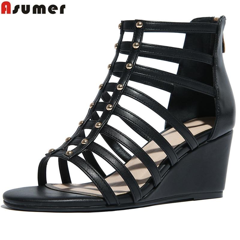 где купить ASUMER black white fashion summer ladies shoes zipper wedges shoes elegant women genuine leather high heels sandals по лучшей цене