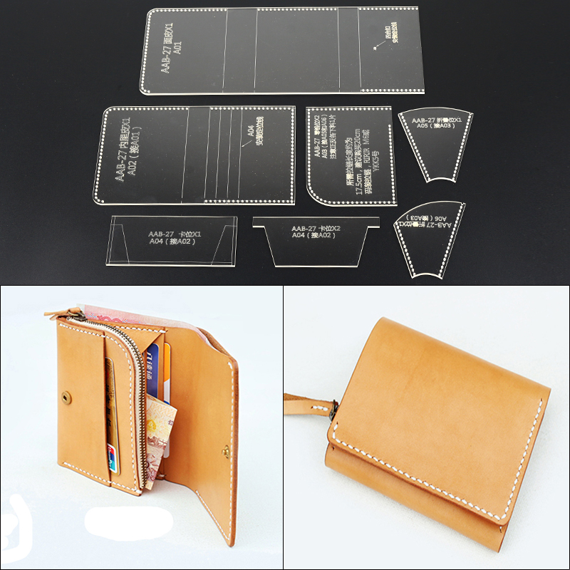 1Set DIY Leather Craft Short Folded Wallet Acrylic Template Sewing Pattern Home DIY Stencils 11x8.5x1.5cm