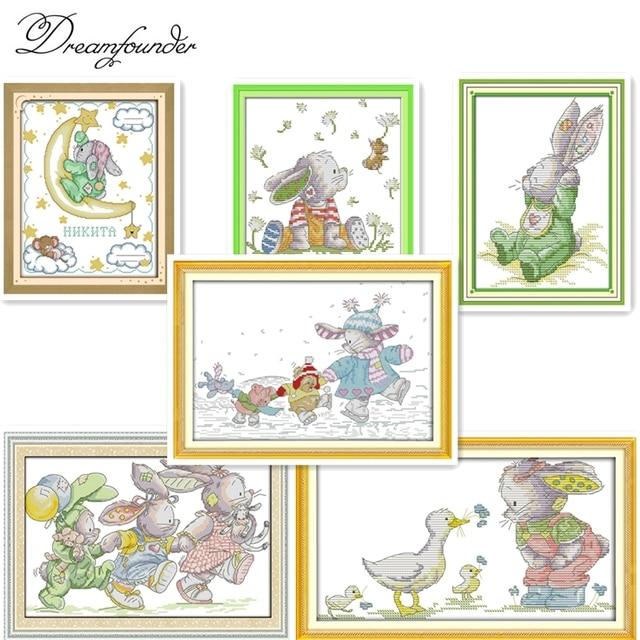 Los encantadores conejos (3) cruz puntada kits dibujos animados 14ct ...