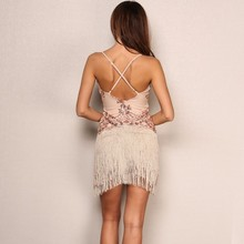 Party Backless Sequins Elegant Tassel Dress