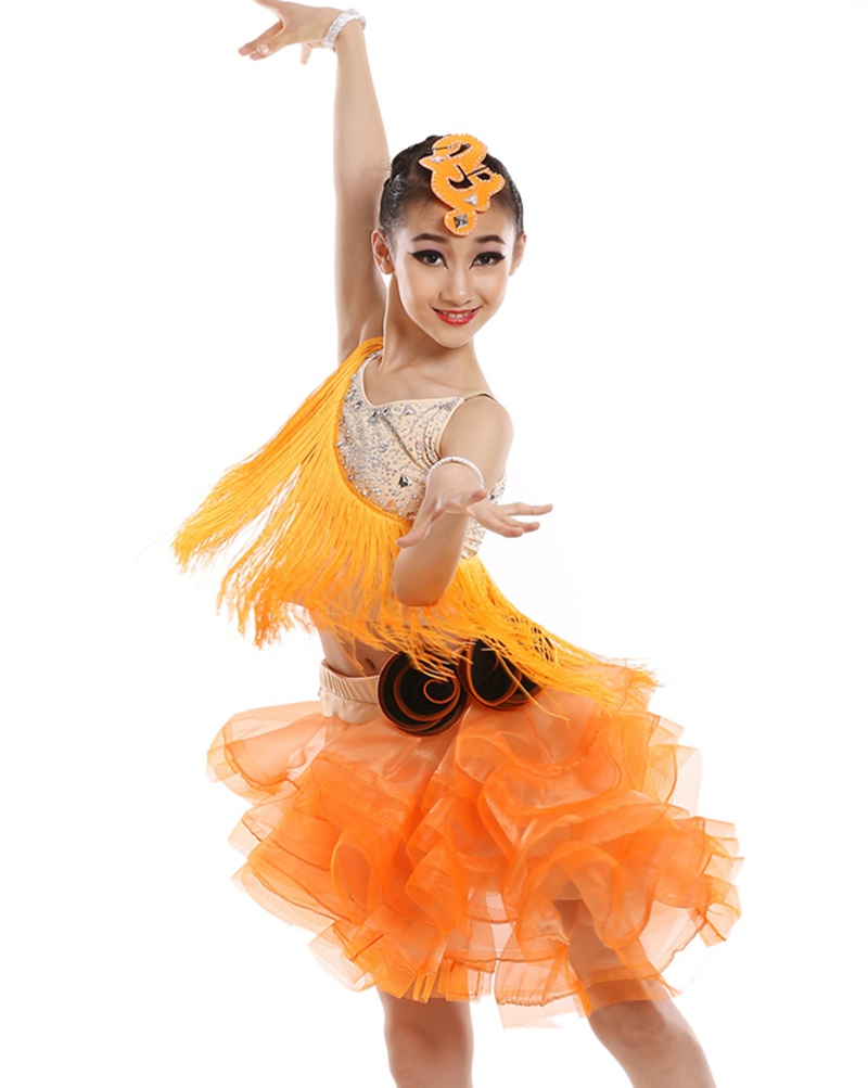 customize children Latin font b dance b font performance costumes professional woman tassel sequined Rumba Samba