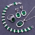 925 Sterling Silver Green Emerlad White Created Topaz  Jewelry Sets For Women Earrings/Pendant/Necklace/Rings/Bracelets Free Box