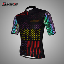 Darevie Reflective Cycling Jersey Breathable Quick-Dry Cool with 3 Back Pocket Hi-viz Safe Rainbow Arm