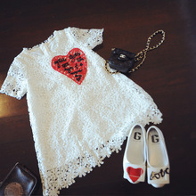 The girl new Korean love lace dress summer for size 3 4 5 6 7 8 9 10 years child princess dress