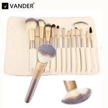 Vander 12pcs Professional Makeup Brushes Brush Set Multipurpose Cosmetic Blending Contour pinceaux maquiagem Kits + Leather Case