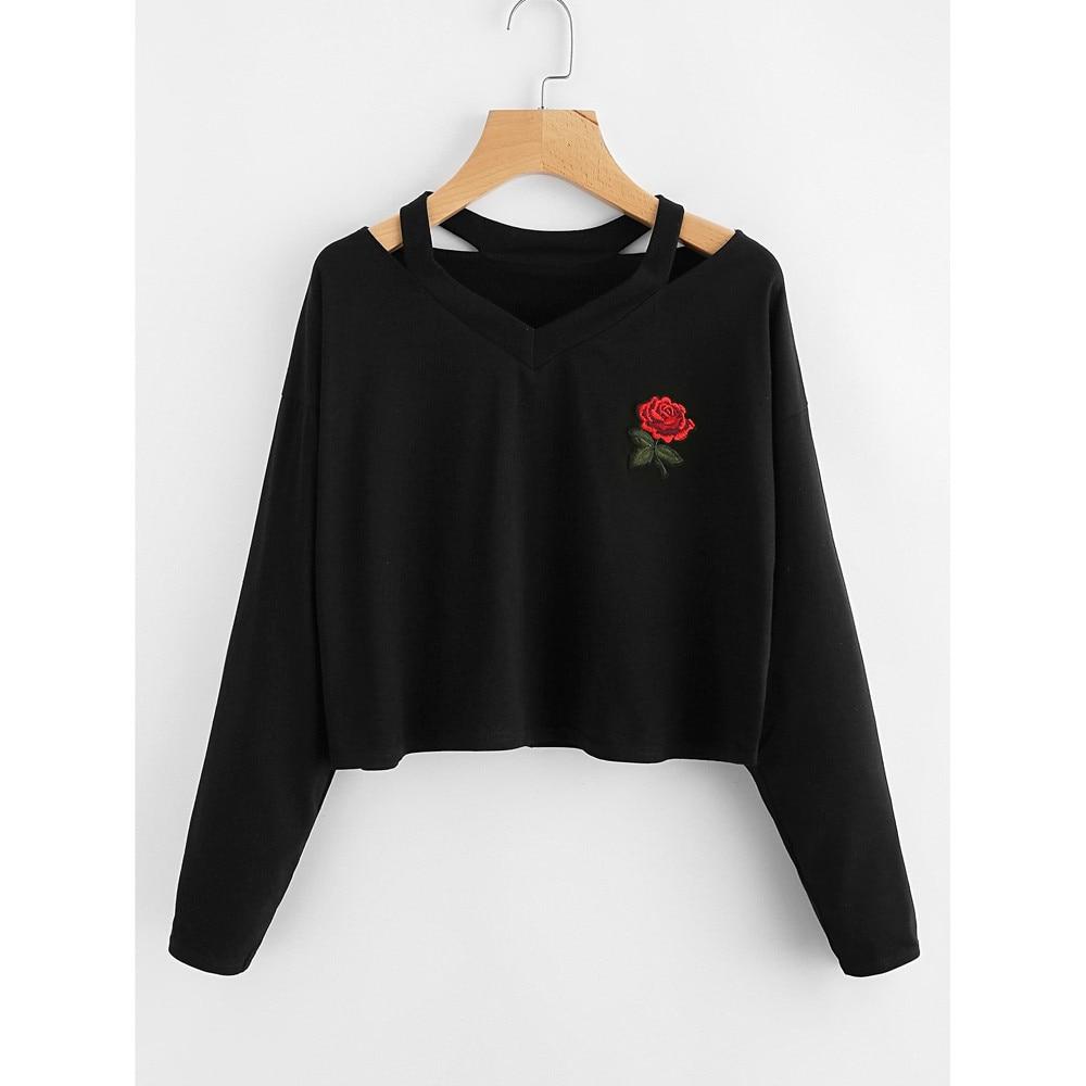 2018 SUMMER short sweatshirt Rose embroidery black sweatshirt moletom feminino com capuz Causal Blouse wholesale AG 15