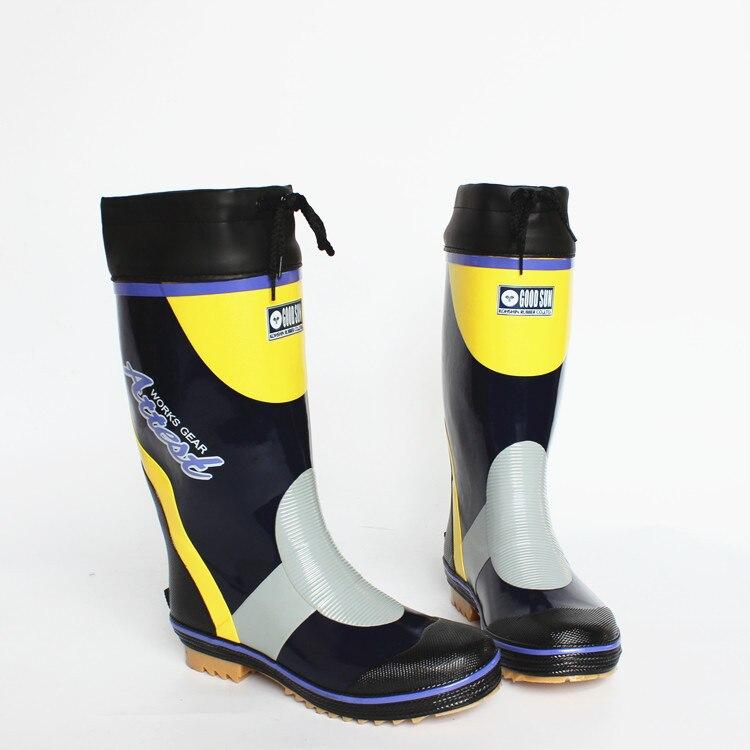 Yidaku men rain boots male steel outsole water fishing for Rubber fishing boots
