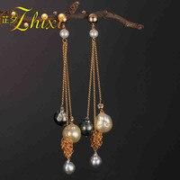 [ZHIXI] Long Pearl Earrings For Women Fine Jewelry Real Fresh Water Pearl Earrings Tassel Baroque Fashion Engagement Gift E312