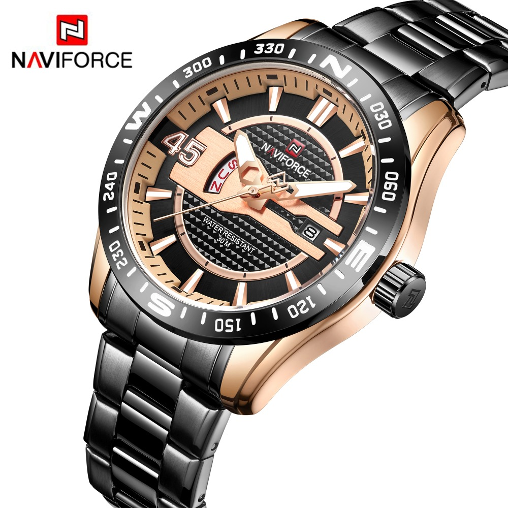 NAVIFORCE Business Mens Watches Top Brand Stainless Steel Military Quartz Watch Men Waterproof Auto Date Clock Male Dropshipping