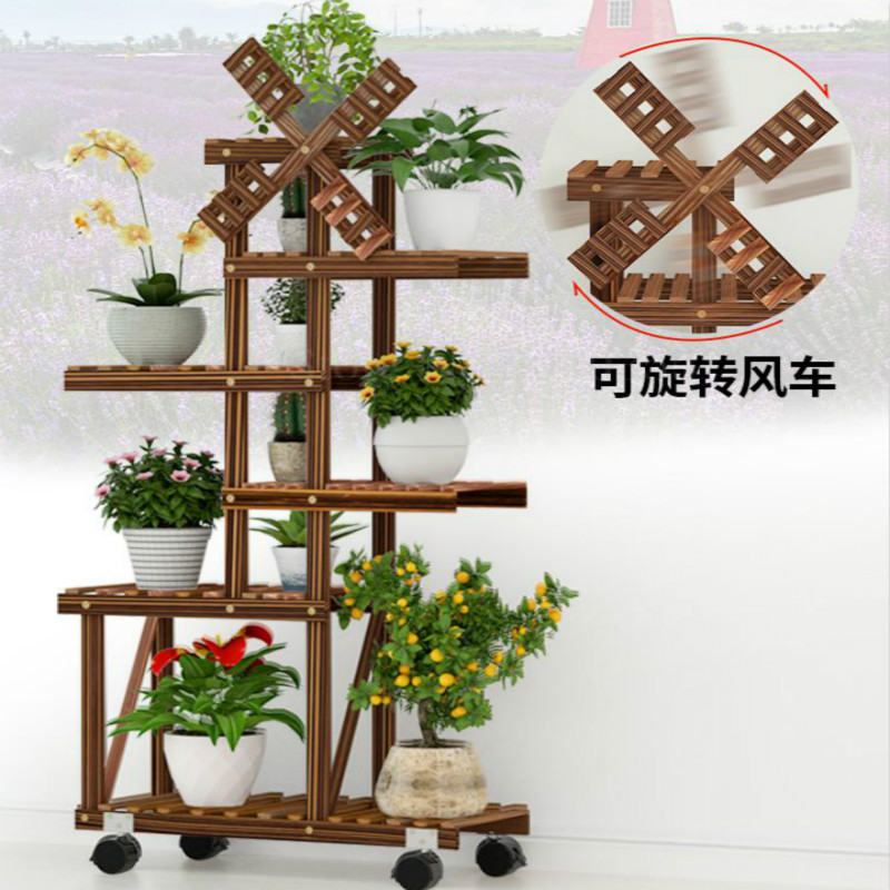 Balcony Flower Shelf Indoor Special Wood Living Room Floor-mounted Multi-layer Rack Succulent Flower Pot Rack With Wheels