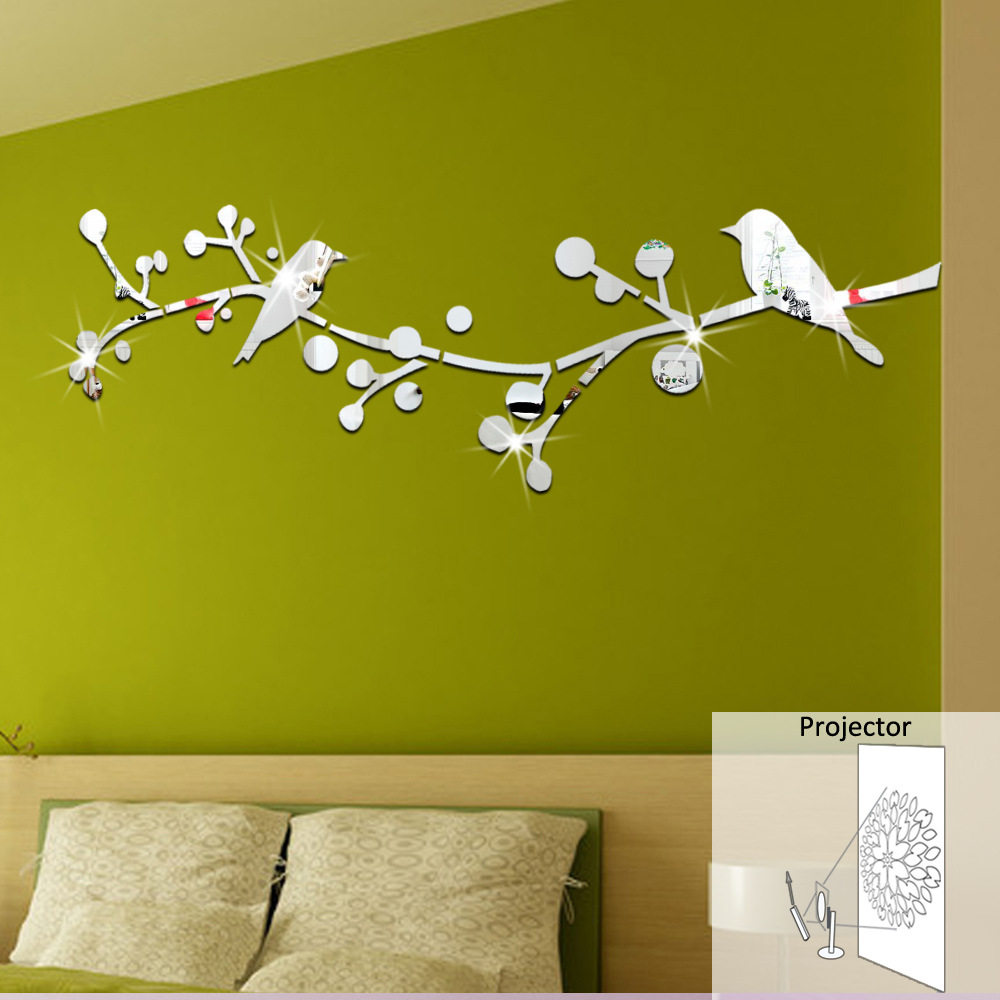 DIY Double Birds Tree 3D Mirror Decorative Wall Sticker Home Salon ...